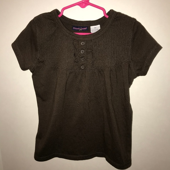Chloe's Closet Other - Brown Ruffle Button Shirt